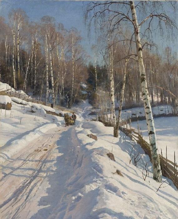 Катание на санях в солнечный зимний день. Автор: Педер Мёрк Мёнстед.