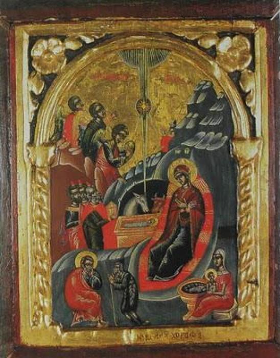 Монастырь Ксиропотам. Рождество Христово. Икона 1660 г.