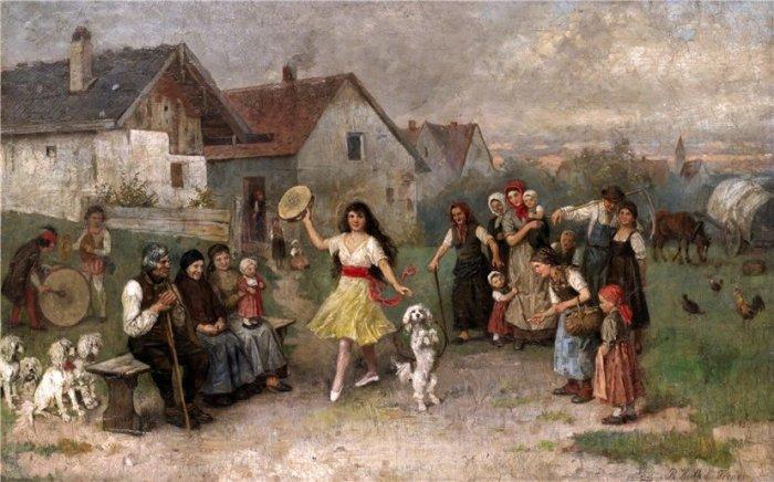 Уличное выступление. Автор: Рудольф Херт дю Френ (1846-1916).