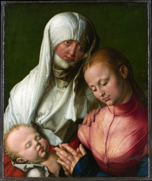 Агнес Дюрер в образе святой Анны, матери Девы Марии.( Агнес в белом одеянии в возрасте 46 лет) Автор: Альбрехт Дюрер.