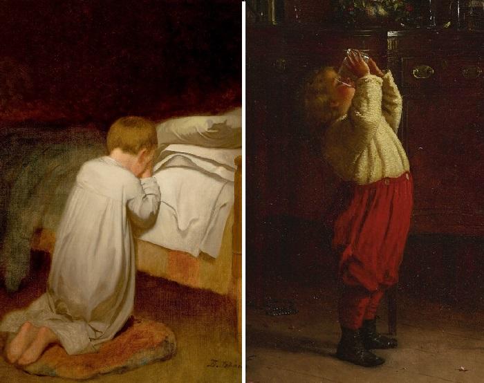 «Child at Prayer».«Младенец за молитвой» (1873 год). Холст на мазоните, масло. 91,4 х 68,6см / «After the feast». «После застолья». (1872 год). Масло на картоне.  Автор: Истмен Джонсон.