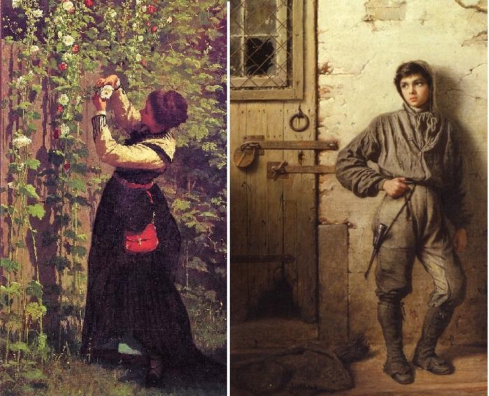 «In the garden. Catching bees». «В саду. Ловля пчел». / «The Savoyard Boy». «Савойский мальчик». (1853 год). Автор: Истмен Джонсон.