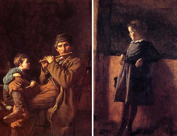 «An Earnest Pupil. «Серьезный ученик»./ «Girl in Barn». «Девочка в сарае». Жанровая живопись Истмена Джонсона.