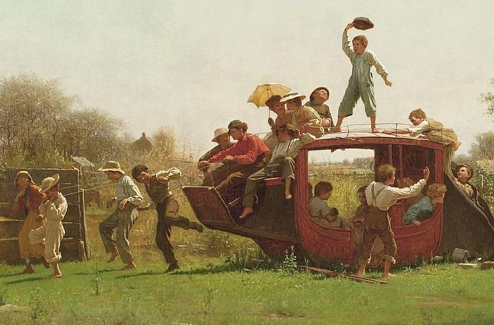 «Старый дилижанс». (1871 год).Холст, масло. 92х153 см. Автор: Истмен Джонсон.