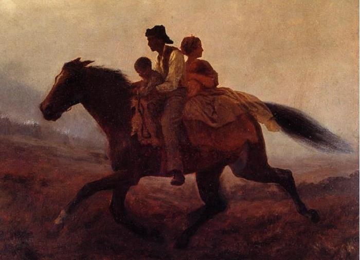 «Дорога свободы - беглые рабы». (1862 год). Картон,<br>масло. Бруклинский музей. Автор: Истмен Джонсон.