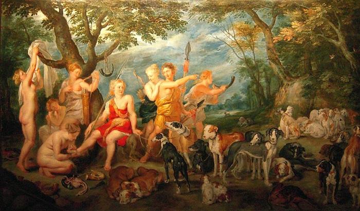 «Диана и нимфы, отправляющиеся на охоту». Музей охоты и природы. Париж. Автор: Ян Брейгель Старший.