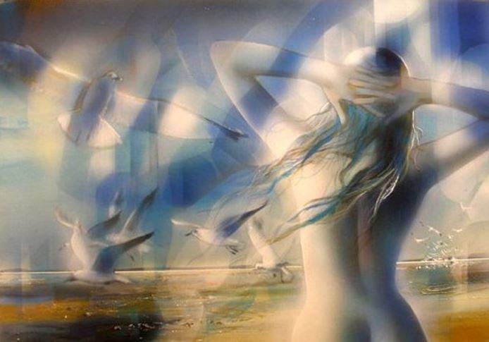 Женщина с чайками.<br>  Фото: usenkomaxim.ru