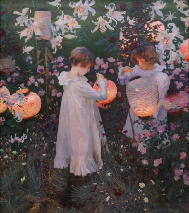 «Гвоздика, лилия, лилия, роза» (Carnation, Lily, Lily, Rose). (1885-86).  Автор: Джон Сингер Сарджент.