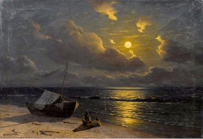 Восход луны в Отузах. (1905-1910). Автор: Г.О. Калмыков.