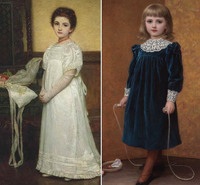Девочка в белом. / Дора. (1892 год). Художник: Кейт Перуджини.