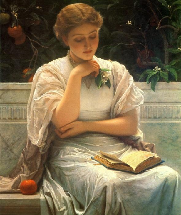 Девушка за чтением. Портрет жены Кейт Перуджини (1878 год). Художественная галерея Манчестера). Художник: Чарльз Перуджини.