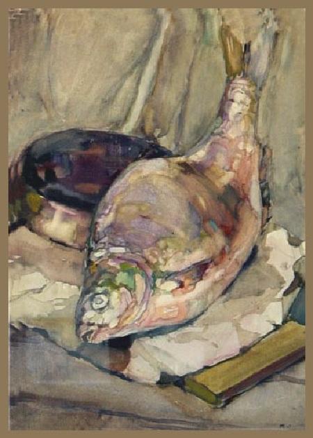 Автор: Натюрморт с рыбой. Коля Дмитриев.