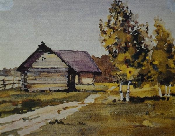 Акварельный пейзаж. Осень в деревне. Автор: Коля Дмитриев.