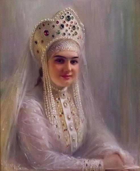 Портрет девушки в кокошнике. Автор: С.И.Крамская. | Фото: cyclowiki.org.