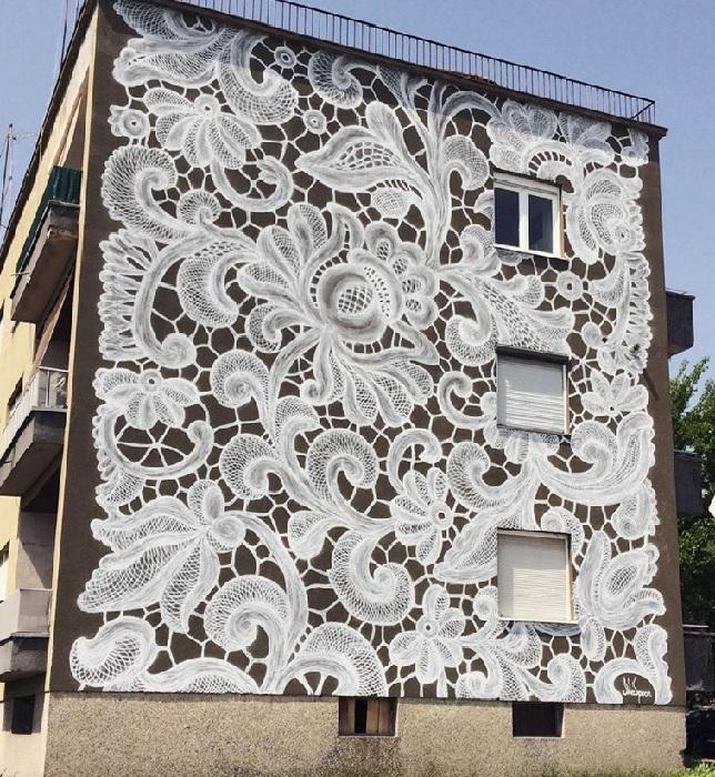 Кружевные фрески от польской художницы НеСпун. | Фото: vltramarine.ru