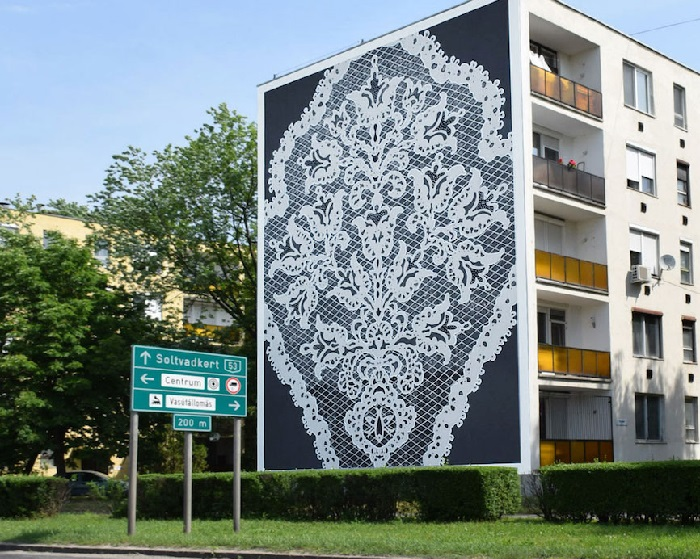 Кружевные фрески от польской художницы НеСпун.  ¦ Фото: vltramarine.ru