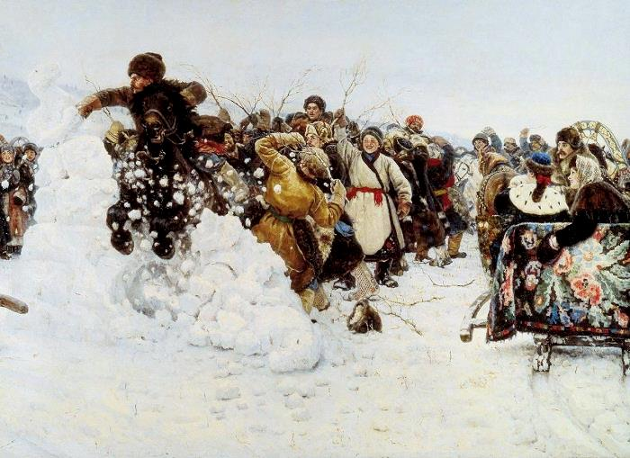 «Взятие снежного городка».(1891 год). Холст, масло. 156,5 х 282 см. Автор: В. И. Суриков.
