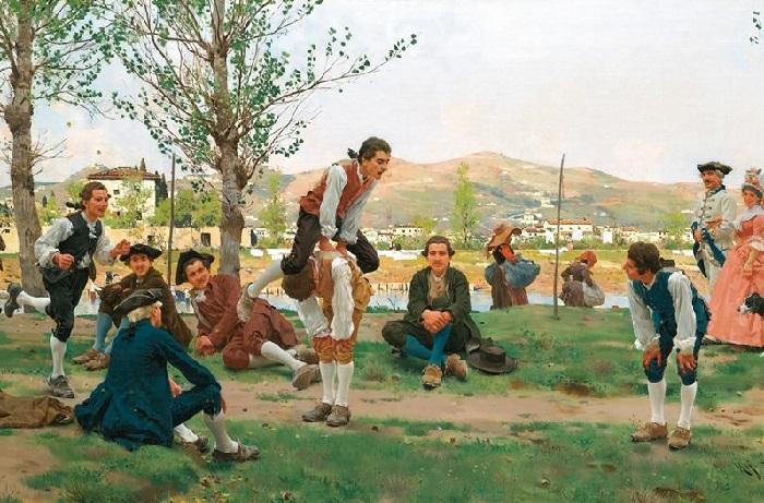 Игра в лягушку. 1887 год. Художник: Рафаэлло Сорби.