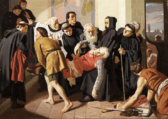 «Корсо Донати ранен каталонцами в Сан-Сальви во Флоренции». (1861 год). Художник: Рафаэлло Сорби.