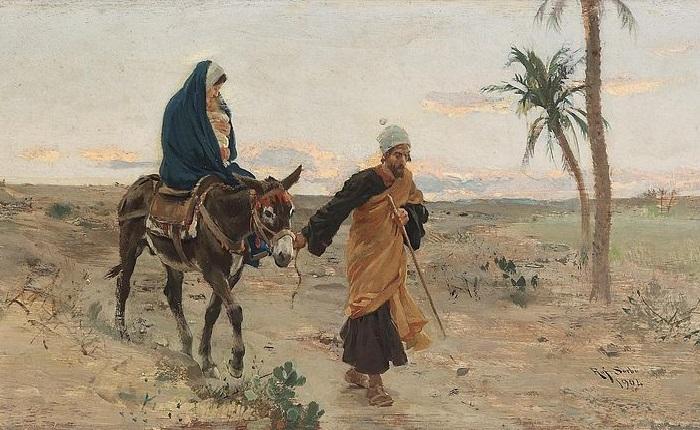 Бегство в Египет (1904 год). Художник: Рафаэлло Сорби.