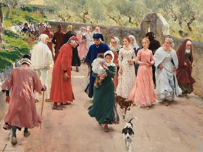 Встреча Данте и Беатрис, 1897 год. Художник: Рафаэлло Сорби.