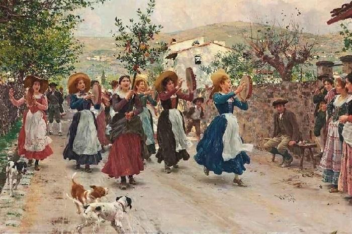 Пасхальное шествие. (1898 год). Художник: Рафаэлло Сорби.