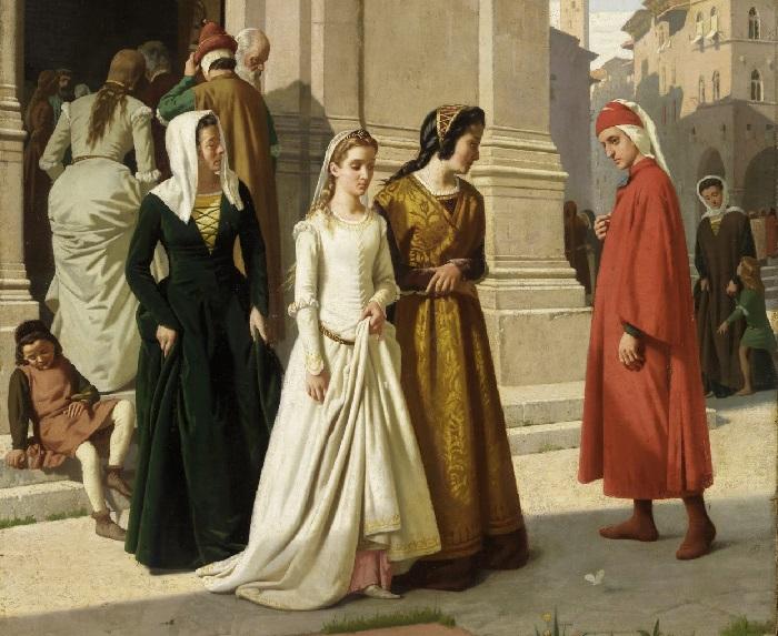 Встреча Данте с Беатриче Портинари в 1274 году. Художник: Рафаэлло Сорби.