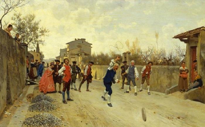 Игра в Руццолы. (1880 год). Художник: Рафаэлло Сорби.