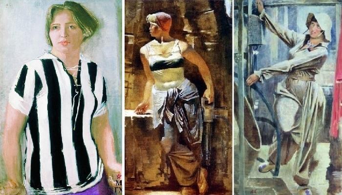 Ряд портретов, ставших характерными произведениями социалистического реализма А.Н.Самохвалова. ¦ Фото: babanata.ru / www.maslovka.org