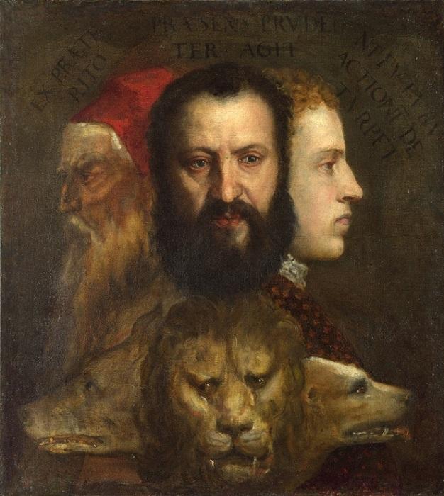 «Аллегория Времени, которым управляет Благоразумие».(1565-1570). 75,6 х 68,7 см. Автор: Тициано Вечелио.(Лондон, Национальная галерея).