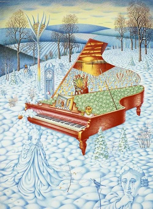 Красное пианино. Автор: Цветные карандаши. Игорь Тюльпанов.