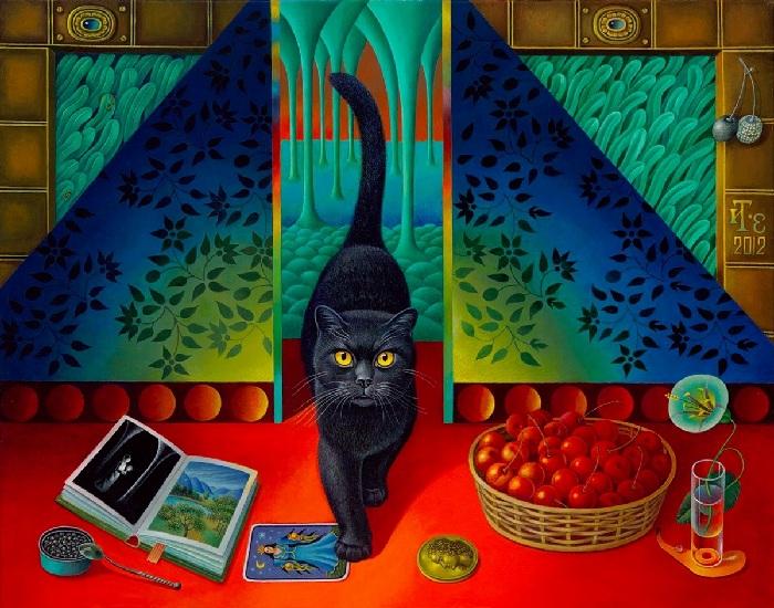 Черный кот. Холст, масло. Автор: Игорь Тюльпанов.