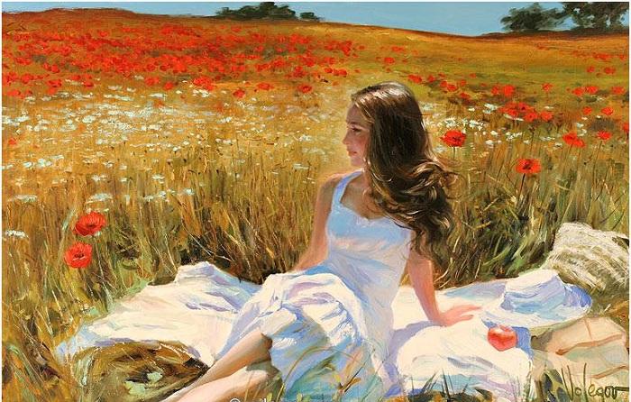 «Как украшают женщину цветы!Любую, даже самую красивую.Её глаза, как луч из темноты, вдруг заблестит, с неведомою силою.» Солнечная живопись от Владимира Волегова.