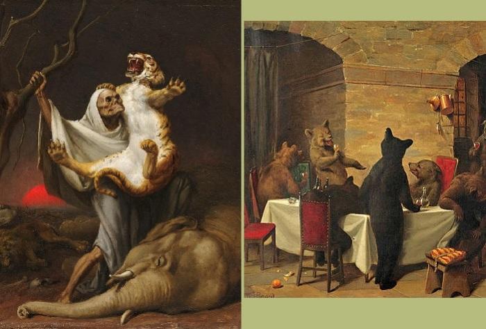 Сила смерти.  (1889 год). / Веселое застолье. Художник: William Holbrook Beard.