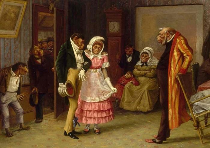 Смотрины. Холст, масло. 50х76. (1877 год). Художник: William Holbrook Beard.