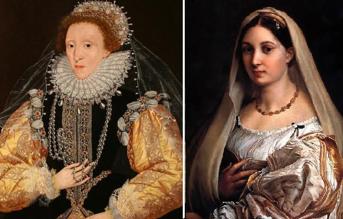 Елизавета I. Автор:Джордж Гауэр (1540–1596) / «Дама под покрывалом. Донна Велата». Автор: Рафаэль.