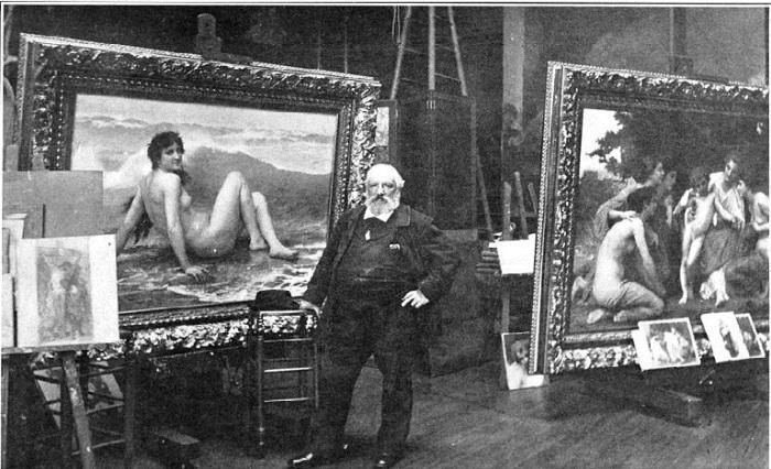 Бугро в мастерской. На фоне картин «Волна» и «Восхищение». Фото 1904 года