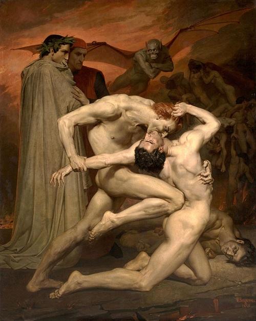 Данте и Вергилий в аду. (1850). Автор: William Bouguereau.