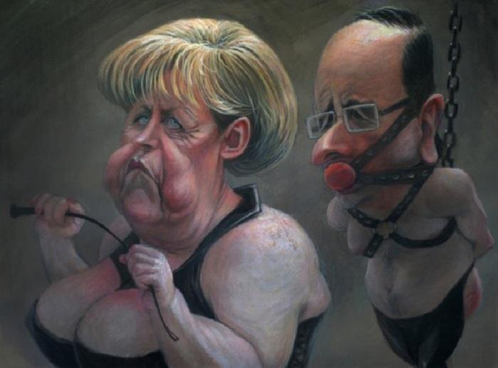 «Меркель и Олланд». Карикатуры и шаржи от художника Дениса Лопатина