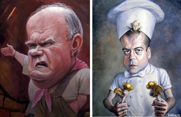 «Зюганов». «Президент и премьер». Карикатуры и шаржи от художника Дениса Лопатина