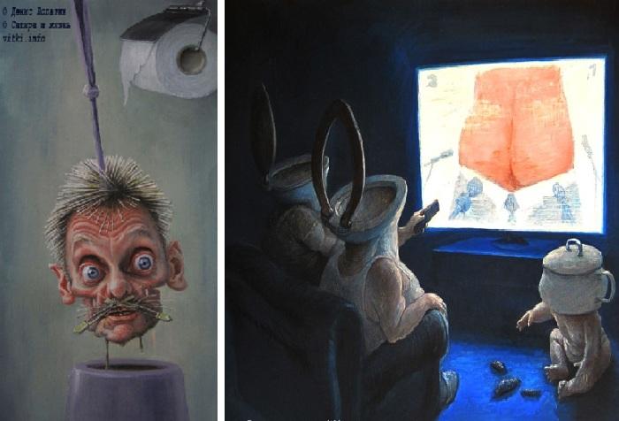 «Песков». «Говорит и показывает российское телевидение». Карикатуры и шаржи от художника Дениса Лопатина