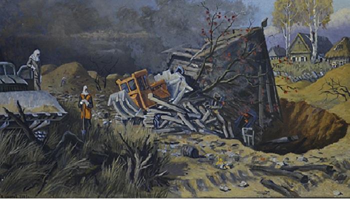 «Похороны в Чернобыльской зоне». Художник: Виктор Шматов.