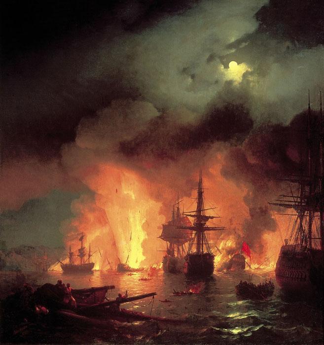 Чесменский бой в ночь с 25 на 26 июня 1770 года. (1848 год.)