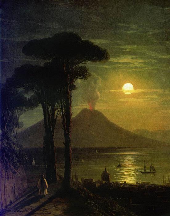 Неаполитанский залив в лунную ночь. Везувий. начало 1840 год.