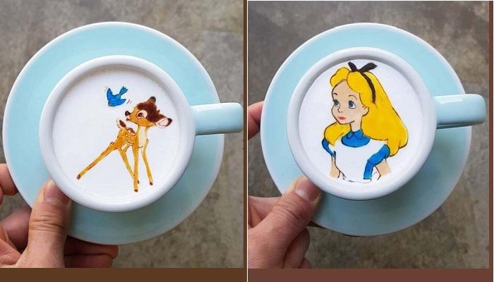 Кофе латте от Ли Кан Бин.  Фото : odditycentral.com