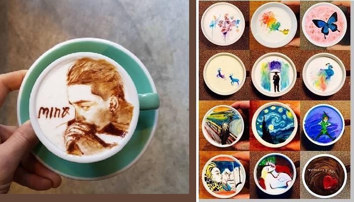 Автопортрет бариста на чашке кофе латте. | Фото : vedomosti-ua.com /graziamagazine.ru