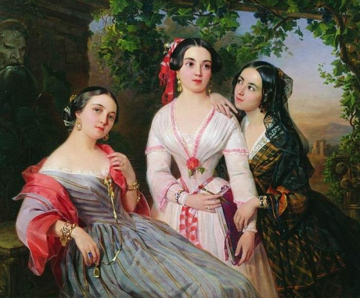 Портрет сестёр Сухово-Кобылиных: Елизаветы (писательница Евгения Тур), Софьи (художница) и Евдокии (в замужестве Петрово-Соловова). (1847).