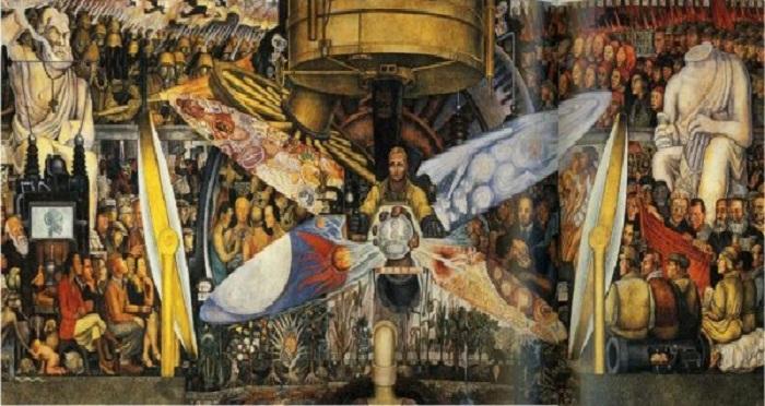 «Человек, управляющий Вселенной. Человек в машине времени. Человек на перепутье». Дворец изящных искусств. Мехико. Автор: Диего Ривера.