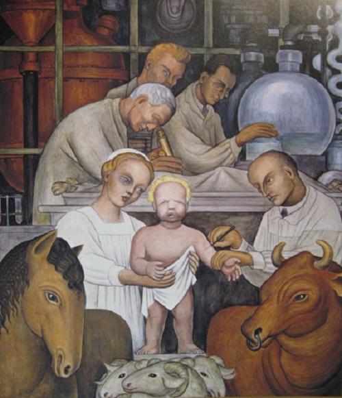 «Вакцинация». Фрагмент фрески «Индустрия Детройта». (1930). Автор: Диего Ривера.