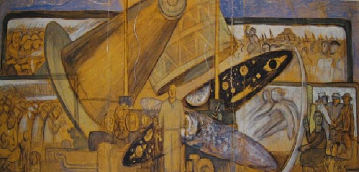 «Человек на перепутье, смотрящий с надеждой на выбор нового и лучшего будущего». Эскиз фрески. Автор: Диего Ривера.